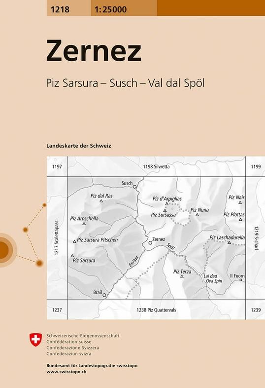 CH-1218  Zernez [2017] topografische wandelkaart 9783302012186  Bundesamt / Swisstopo LKS 1:25.000  Wandelkaarten Graubünden, Tessin