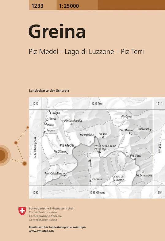CH-1233  Greina, Piz Medel [2015] topografische wandelkaart 9783302012339  Bundesamt / Swisstopo LKS 1:25.000 Graubünden  Wandelkaarten Graubünden, Tessin, Ticino