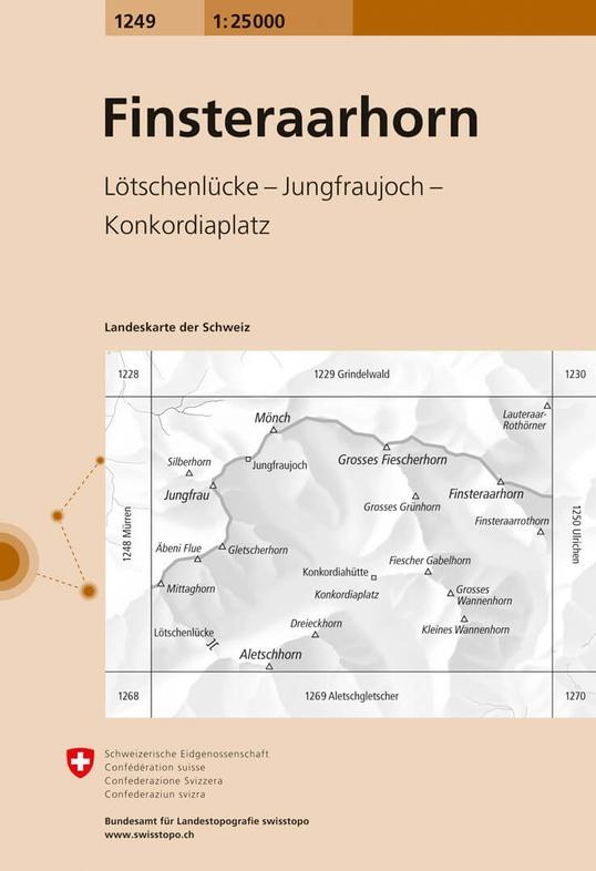 CH-1249  Finsteraarhorn [2020] topografische wandelkaart 9783302012490  Bundesamt / Swisstopo LKS 1:25.000 Wallis  Wandelkaarten Berner Oberland, Wallis
