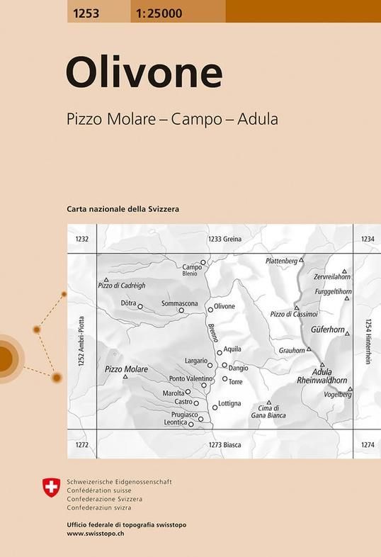 CH-1253  Olivone [2014] topografische wandelkaart 9783302012537  Bundesamt / Swisstopo LKS 1:25.000  Wandelkaarten Graubünden, Tessin