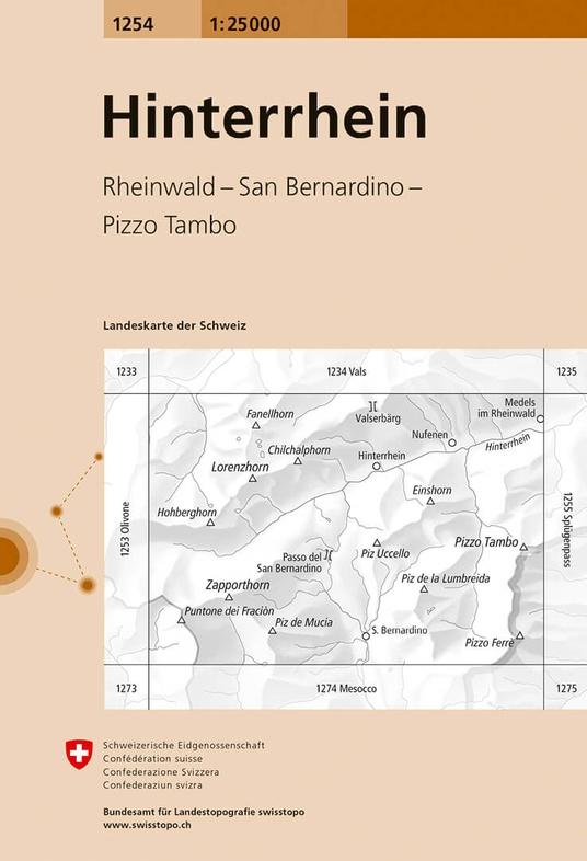 CH-1254  Hinterrhein [2018] topografische wandelkaart 9783302012544  Bundesamt / Swisstopo LKS 1:25.000  Wandelkaarten Graubünden, Tessin