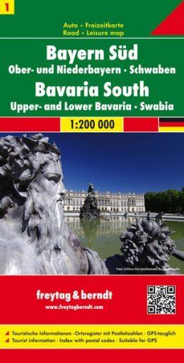 FBD-01 Zuid- en Midden-Beieren 1:200.000 9783707904475  Freytag & Berndt Duitsland 1:200.000  Landkaarten en wegenkaarten Beieren