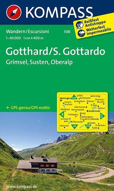 KP-108 Gotthard | Kompass wandelkaart 9783850269650  Kompass Wandelkaarten Kompass Zwitserland  Wandelkaarten Midden- en Oost-Zwitserland, Tessin, Ticino