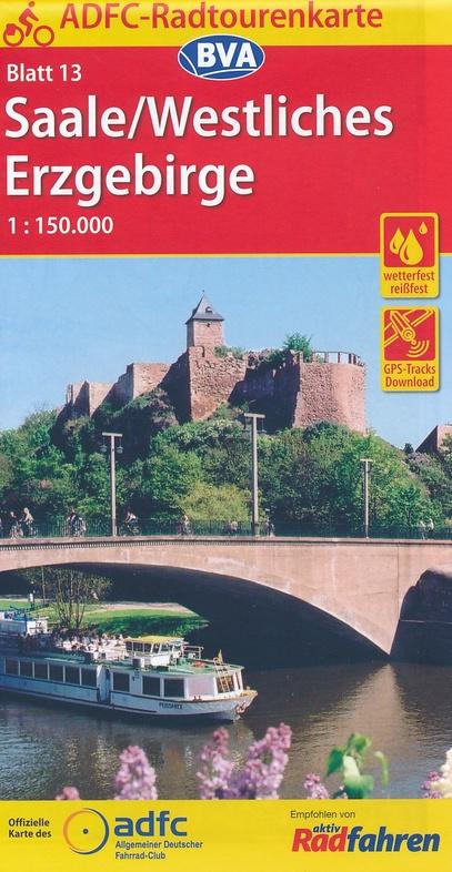 ADFC-13 Saale/Westl.Erzgebirge | fietskaart 1:150.000 9783870738822  ADFC / BVA Radtourenkarten 1:150.000  Fietskaarten Erzgebirge, Elbsandsteingebirge, Lausitz