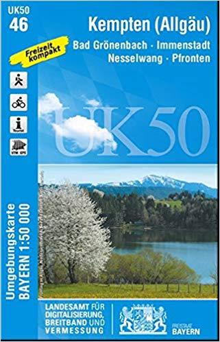 UK50-46  Kempten u.Umg. 9783899336429  LVA Bayern UmgebungsKarte 1:50.000  Wandelkaarten Beierse Alpen
