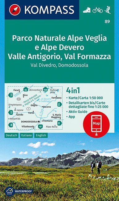 KP-89  Parco Naturale Alpe Veglia | Kompass wandelkaart 1:50.000 9783990444399  Kompass Wandelkaarten Kompass Italië  Wandelkaarten Turijn, Piemonte