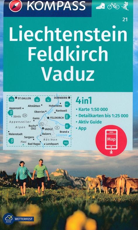 KP-21 Feldkirch-Vaduz, Liechtenstein | Kompass wandelkaart 9783990446324  Kompass Wandelkaarten Kompass Oostenrijk  Wandelkaarten Tirol & Vorarlberg
