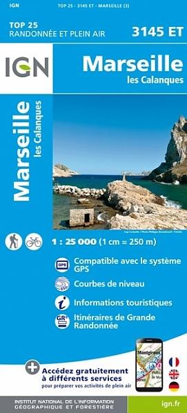 3145ET  omg. Marseille, les Calanques | wandelkaart 1:25.000 9782758539780  IGN IGN 25 Provence  Wandelkaarten Provence, Marseille, Camargue