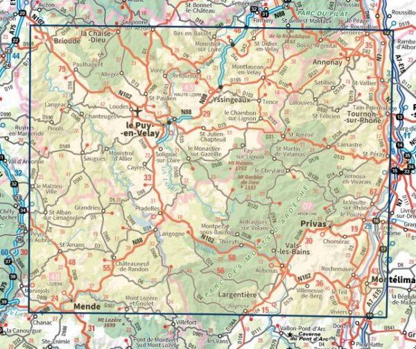 SV-156  Le Puy-en-Velay, Privas   omgevingskaart / fietskaart 1:100.000 9782758547686  IGN Série Verte 1:100.000  Fietskaarten, Landkaarten en wegenkaarten Ardèche, Drôme