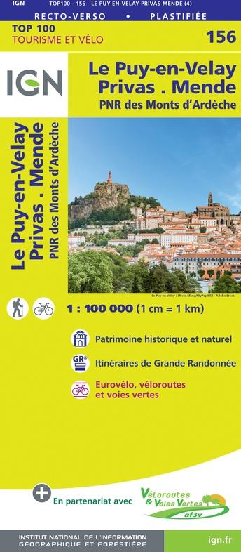 SV-156  Le Puy-en-Velay, Privas | omgevingskaart / fietskaart 1:100.000 9782758547686  IGN Série Verte 1:100.000  Fietskaarten, Landkaarten en wegenkaarten Ardèche, Drôme