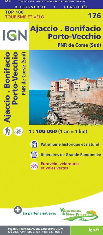 SV-176  Ajaccio/Bonifacio (Corse Sud) | omgevingskaart / fietskaart 1:100.000 9782758547808  IGN Série Verte 1:100.000  Fietskaarten, Landkaarten en wegenkaarten Corsica