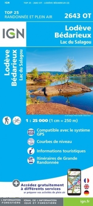2643OT  Lodève, Lac du Salagou | wandelkaart 1:25.000 9782758548782  IGN TOP 25  Wandelkaarten Cevennen, Languedoc