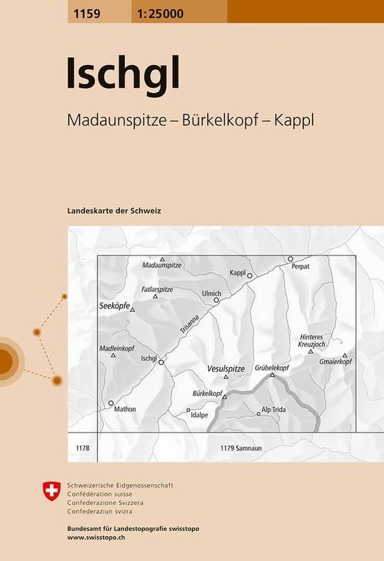 CH-1159  Ischgl [2016] topografische wandelkaart 9783302011592  Bundesamt / Swisstopo LKS 1:25.000  Wandelkaarten Graubünden, Tessin