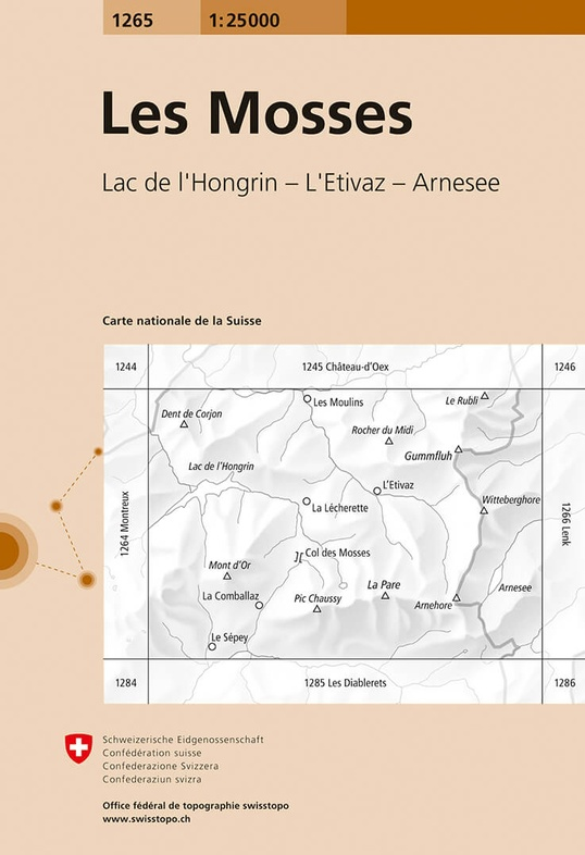 CH-1265  Les Mosses, Gummfluh [2018] topografische wandelkaart 9783302012650  Bundesamt / Swisstopo LKS 1:25.000  Wandelkaarten Berner Oberland, Basel, Jura, Genève