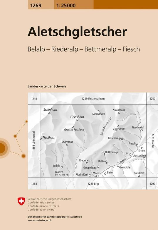 CH-1269  Aletschgletscher [2020] topografische wandelkaart 9783302012698  Bundesamt / Swisstopo LKS 1:25.000  Wandelkaarten Wallis