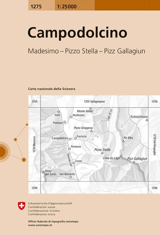 CH-1275  Campodolcino [2014] topografische wandelkaart 9783302012759  Bundesamt / Swisstopo LKS 1:25.000  Wandelkaarten Graubünden, Tessin