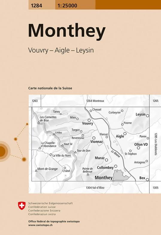 CH-1284  Monthey [2018] topografische wandelkaart 9783302012841  Bundesamt / Swisstopo LKS 1:25.000  Wandelkaarten Wallis
