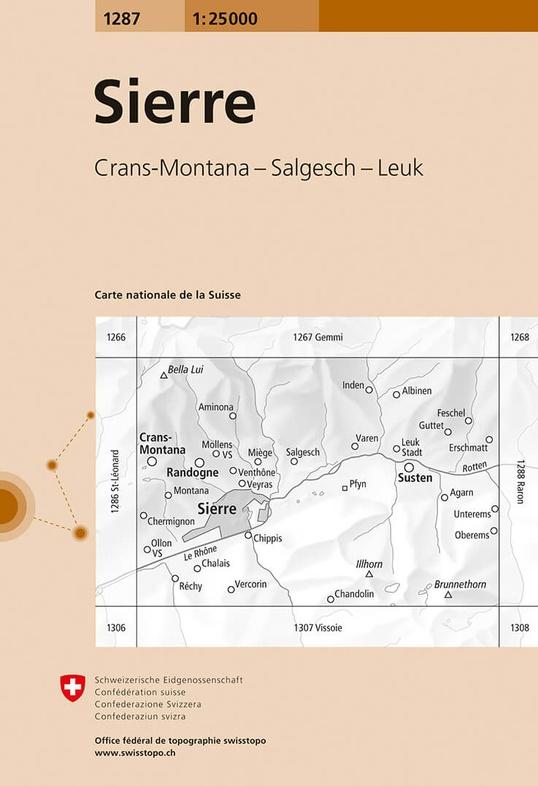 CH-1287  Sierre [2018] topografische wandelkaart 9783302012872  Bundesamt / Swisstopo LKS 1:25.000  Wandelkaarten Wallis