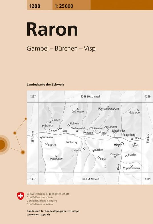 CH-1288  Raron [2019] topografische wandelkaart 9783302012889  Bundesamt / Swisstopo LKS 1:25.000  Wandelkaarten Wallis