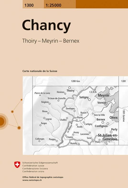 CH-1300 Chancy [2017] topografische wandelkaart 9783302013008  Bundesamt / Swisstopo LKS 1:25.000 Jura, Vaud  Wandelkaarten Jura, Genève, Vaud