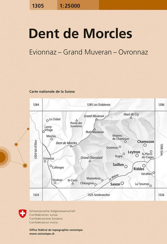 CH-1305  Dent de Morcles [2019] topografische wandelkaart 9783302013053  Bundesamt / Swisstopo LKS 1:25.000  Wandelkaarten Wallis