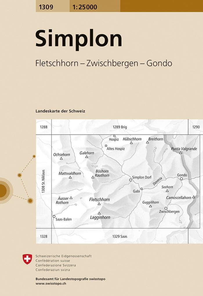 CH-1309  Simplon [2019] topografische wandelkaart 9783302013091  Bundesamt / Swisstopo LKS 1:25.000  Wandelkaarten Wallis