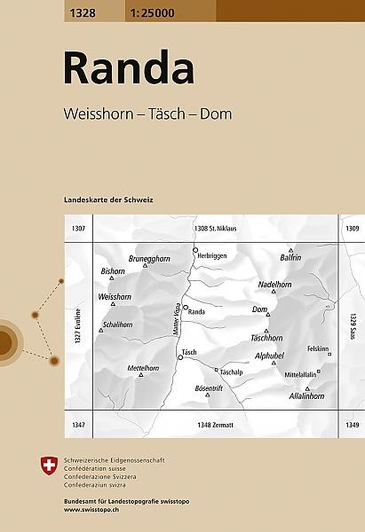 CH-1328  Randa  [2017] topografische wandelkaart 9783302013282  Bundesamt / Swisstopo LKS 1:25.000  Wandelkaarten Wallis
