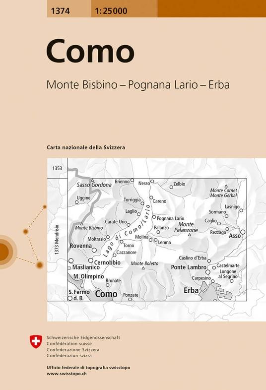 CH-1374  Como [2017] topografische wandelkaart 9783302013749  Bundesamt / Swisstopo LKS 1:25.000  Wandelkaarten Graubünden, Tessin