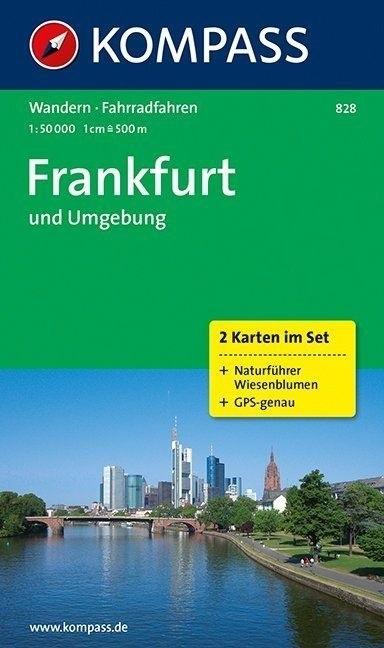 KP-828 Omgeving Frankfurt | Kompass 9783850261890  Kompass Wandelkaarten Kompass Duitsland  Wandelkaarten Frankfurt, Taunus, Rheingau