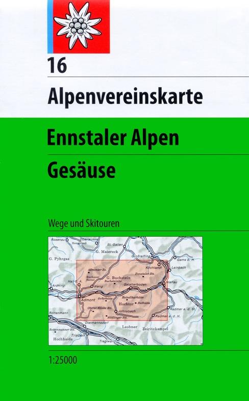 AV-16 Ennstaler Alpen - Gesäuse [2016] Alpenvereinskarte wandelkaart 9783928777346  AlpenVerein Alpenvereinskarten  Wandelkaarten Salzburg, Karinthië, Tauern, Stiermarken