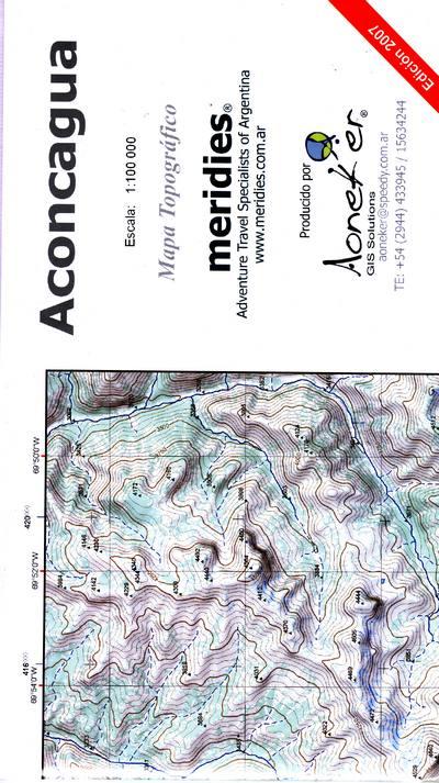Aconcagua 1:100.000 AONACONCA100  Aoneker   Wandelkaarten Argentinië