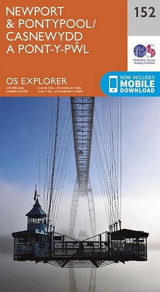 EXP-152 Newport + Pontypool | wandelkaart 1:25.000 9780319243459  Ordnance Survey Explorer Maps 1:25t.  Wandelkaarten Zuid-Wales, Pembrokeshire, Brecon Beacons