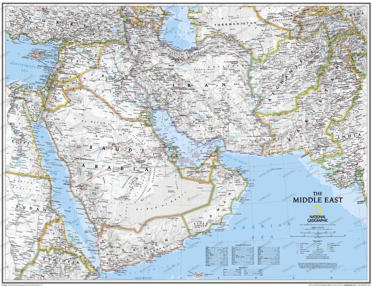 Wandkaart Midden-Oosten | National Geographic Wall Map 9780792281146  National Geographic NG planokaarten  Wandkaarten Midden-Oosten