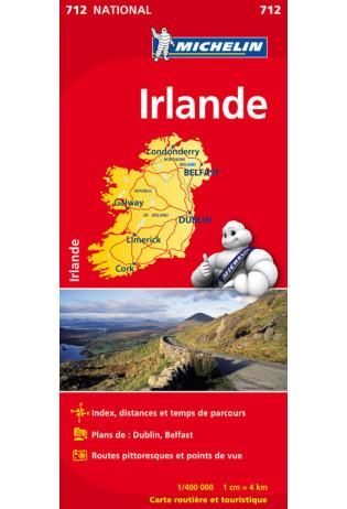 712 Ierland | Michelin  wegenkaart, autokaart 1:400.000 9782067170193  Michelin   Landkaarten en wegenkaarten Ierland