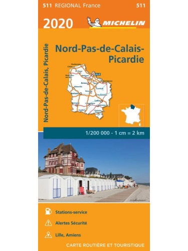 511 Nord / Pas-de-Calais / Picardie | Michelin  wegenkaart, autokaart 1:200.000 9782067243750  Michelin Regionale kaarten  Landkaarten en wegenkaarten Picardie, Nord