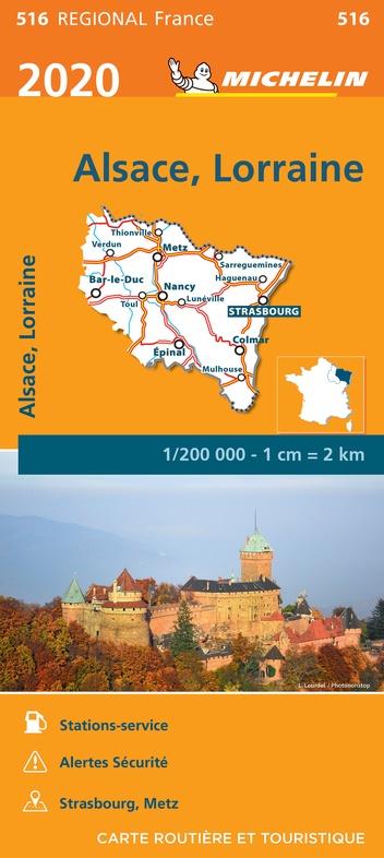 516 Alsace-Lorraine | Michelin  wegenkaart, 2020 9782067243798  Michelin Regionale kaarten  Landkaarten en wegenkaarten Noordoost Frankrijk
