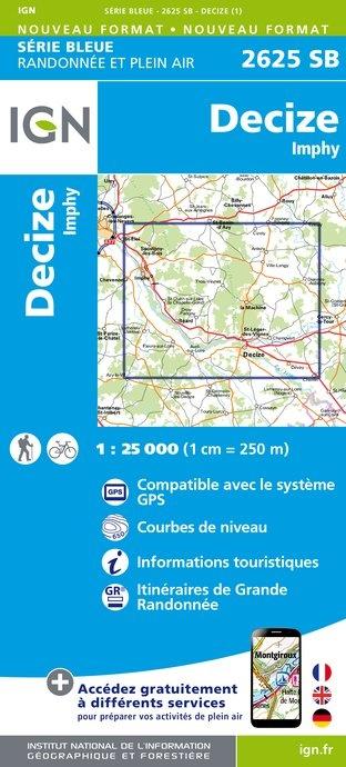 SB-2625SB   Decize-sur-Loire, Imphy, La Machine | wandelkaart 1:25.000 9782758534365  IGN Serie Bleue (vernieuwd)  Wandelkaarten Bourgogne