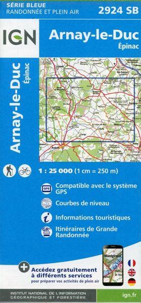 SB-2924SB Arnay-le-Duc | wandelkaart 1:25.000 9782758534518  IGN IGN 25 Bourgogne & Morvan  Wandelkaarten Morvan