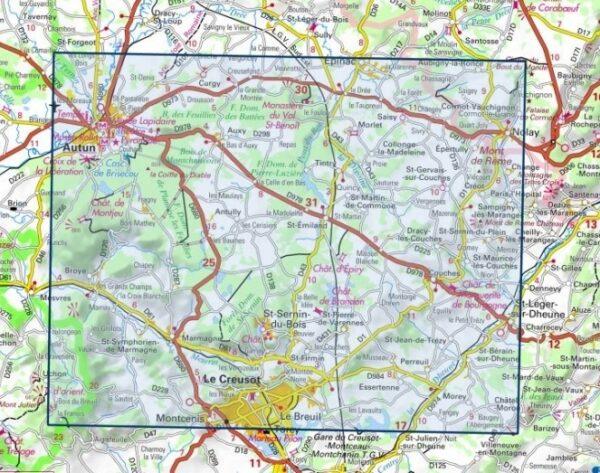 wandelkaart 2925-SB Autun, Le Creusot 1:25.000 9782758534525  IGN IGN 25 Bourgogne & Morvan  Wandelkaarten Bourgogne, Morvan
