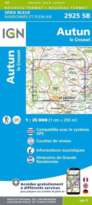 SB-2925SB  Autun, Le Creusot  | wandelkaart 1:25.000 9782758534525  IGN Serie Bleue (vernieuwd)  Wandelkaarten Bourgogne, Morvan