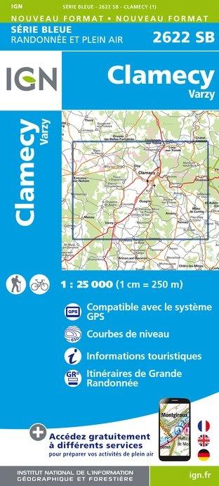 SB-2622SB Clamécy, Tannay, Varzy | wandelkaart 1:25.000 9782758536253  IGN Serie Bleue (vernieuwd)  Wandelkaarten Morvan