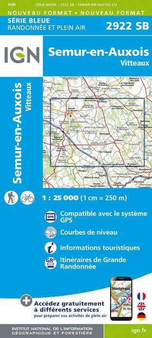 SB-2922SB Vitteaux, Semur-en-Auxois, Précy-sous-Thil | wandelkaart 1:25.000 9782758536284  IGN IGN 25 Bourgogne & Morvan  Wandelkaarten Morvan