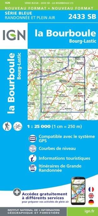 SB-2433SB  La Bourboule, Bourg-Lastic | wandelkaart 1:25.000 9782758537229  IGN IGN 25 Auvergne  Wandelkaarten Auvergne