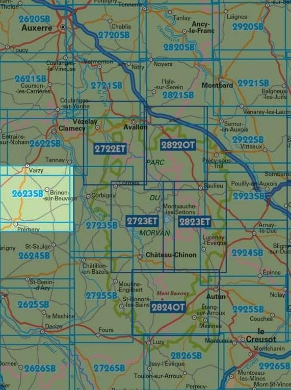 wandelkaart 2623-SB Prémery, Brinon-sur-Beuvron 1:25.000 9782758537274  IGN IGN 25 Bourgogne & Morvan  Wandelkaarten Morvan