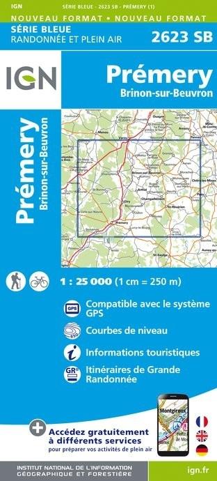 SB-2623SB Prémery, Brinon-sur-Beuvron | wandelkaart 1:25.000 9782758537274  IGN IGN 25 Bourgogne & Morvan  Wandelkaarten Morvan
