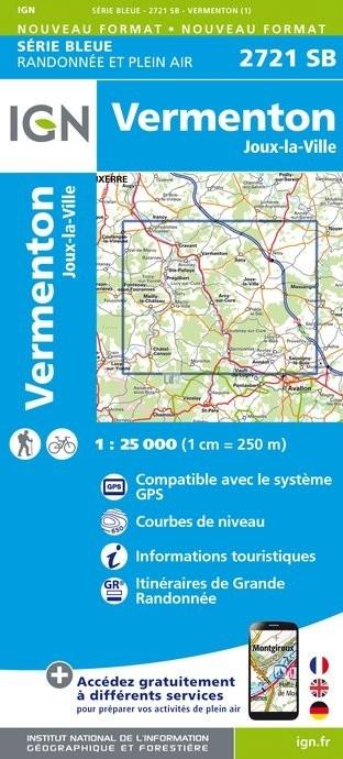 SB-2721SB Vermenton, Nitry, Joux-la-Ville  | wandelkaart 1:25.000 9782758537281  IGN IGN 25 Bourgogne & Morvan  Wandelkaarten Morvan