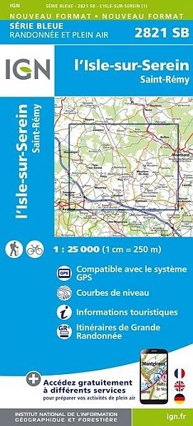 SB-2821SB  l'Isle-sur-Serein | wandelkaart 1:25.000 9782758537342  IGN IGN 25 Bourgogne & Morvan  Wandelkaarten Morvan
