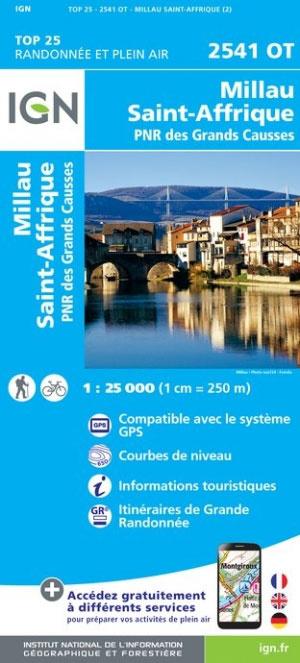 2541OT Millau / St. Affrique | wandelkaart 1:25.000 9782758539599  IGN TOP 25  Wandelkaarten Lot, Tarn, Toulouse