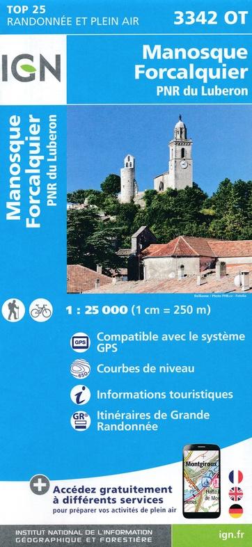 3342OT   Forcalquier, Manosque | wandelkaart 1:25.000 9782758539940  IGN IGN 25 Provence  Wandelkaarten Provence, Marseille, Camargue