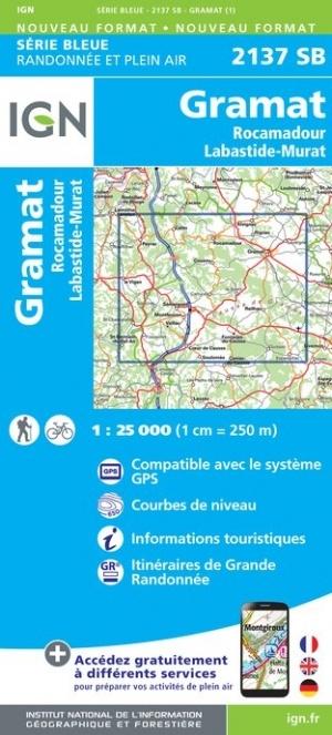 SB-2137SB  Gramat, Rocamadour, Labastide-Murat | wandelkaart 1:25.000 9782758546139  IGN Serie Bleue (vernieuwd)  Wandelkaarten Dordogne, Lot, Tarn, Toulouse
